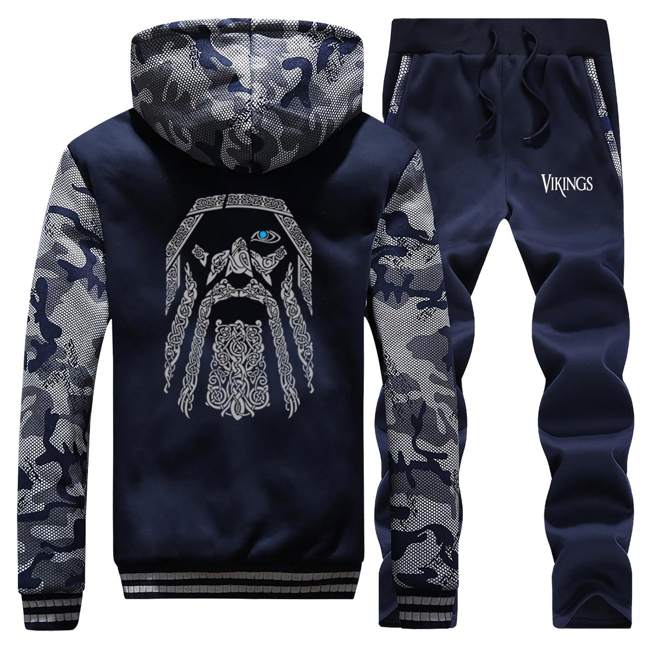 Odin Vikings Thick Hoodies Men Warm Suit Jacket+Pant 2PC Sets Male Winter Sweatshirt Camouflage Coat Mens Fashion Sportswear