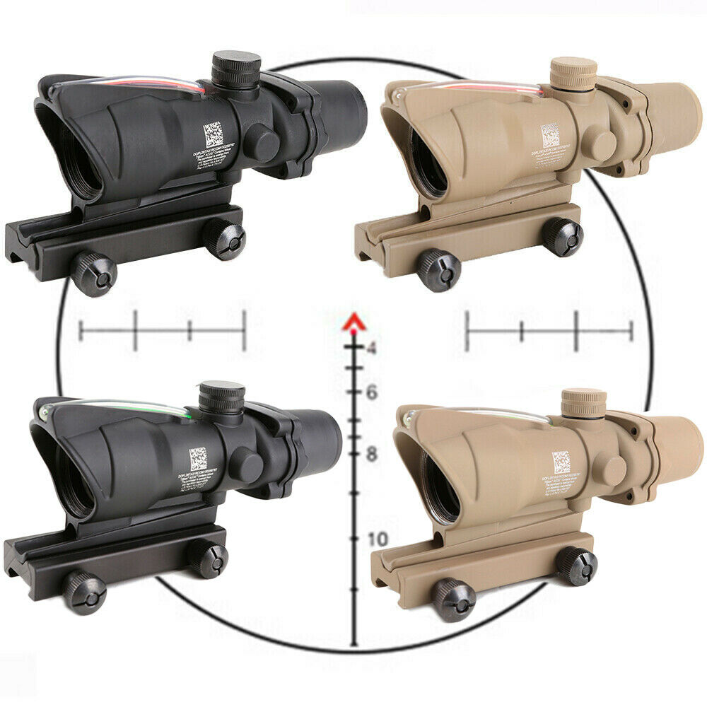 Rifle Scope ACOG 4X32 Red / Green Fiber Optic Sight Reticle Hunting Trail Riflescope For Rifle .223 .308 Caliber Gun Parts