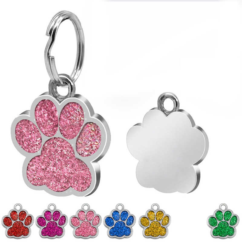 1pc Paw Shape Pendants Pet Dog Accessories Alloy ID Tags Puppy Pet Collar Pendant For Pet Cat Dog Supplies 6 Color