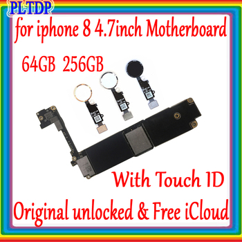 64GB 256GB for iphone 8 Motherboard with/without Touch ID ,100% Original unlocked for iphone 8 4.7inch Mainboard with Full Chips