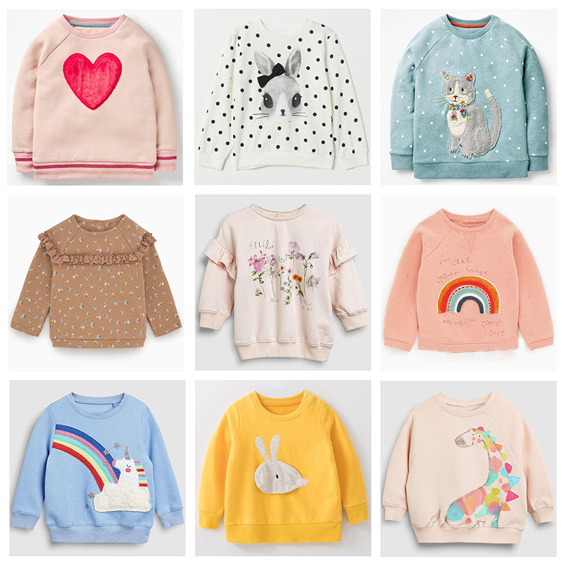 New 2019 Brand Quality 100% Terry Cotton Girl Sweatshirt Kids Children T Shirt Blouse Bebe Girls Hoodies Kids Baby Girls Clothes
