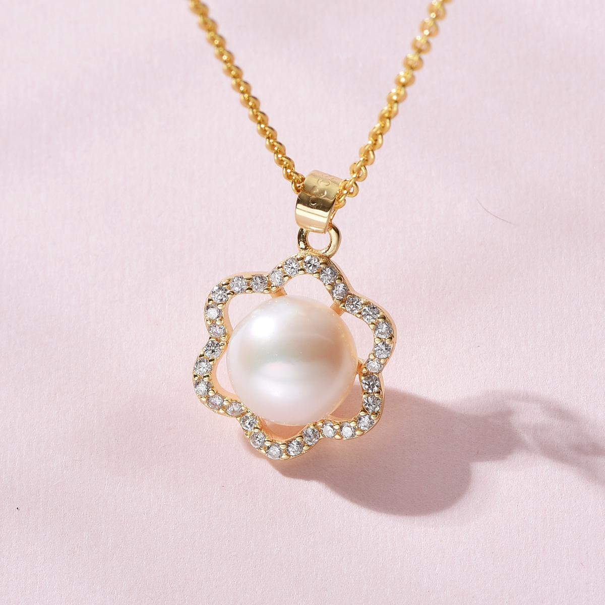 gN Pearl White Natural Freshwater 8-9mm Pearl Pendants Necklaces 925 Silver Gold Plated Flower Zirconia Choker Chain gNPearl