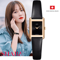 Швейцарские часы топ бренда для женщин Простые кварцевые часы Италия коровьей сапфир relogio feminino прямоугольник montre femme черный новый