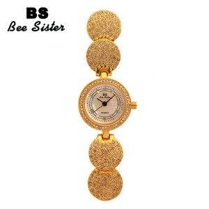 Image 4 - Женские кварцевые наручные часы, модные золотистые наручные часы из нержавеющей стали с бриллиантами, женские наручные часы, браслет Wtach для девочек, 2019