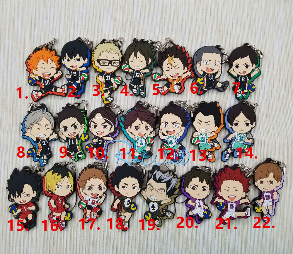 New Hot Anime Haikyuu Rubber Keychain Key Ring Straps Rare Cosplay Gift