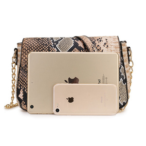 Image 2 - Stone Pattern Small Crossbody Bag For Women Snake Print PU Leather Shoulder Bag Female Chain Messenger Bag Ladies Hand Bags 2020