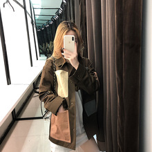2019 New Tide Army Green Leisure Wind Frock Coat Turn-down Collar Covered Button Patchwork Pockets Coats and Jackets Women