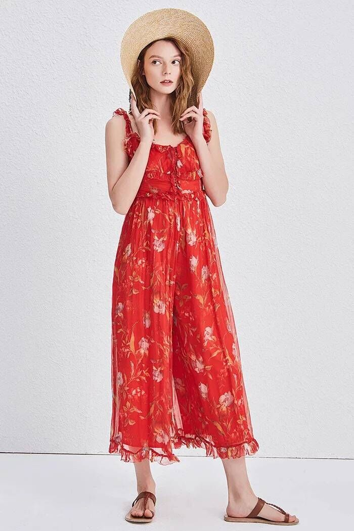 Women Jumpsuit Silk Red Printed Jumpsuit