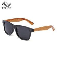 TTLIFE Classic Vintage Wood Grain Sunglasses Men Women Mirrored Reflective Lens Sun Glasses Female Goggles YJHH0236