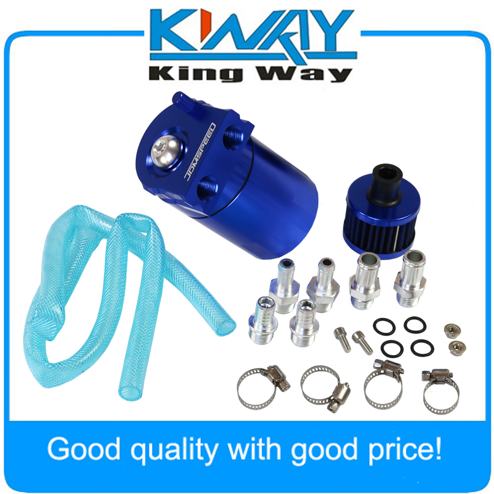 Free Shipping-Blue Oil Catch Reservoir Breather Can Tank W/Filter Kit Cylinder Aluminum Engine