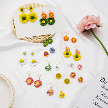 2020 Summer Korean Colorful Flower Long Drop Earrings for Women Gold Color Metal Double Layer Floral Statement Jewelry