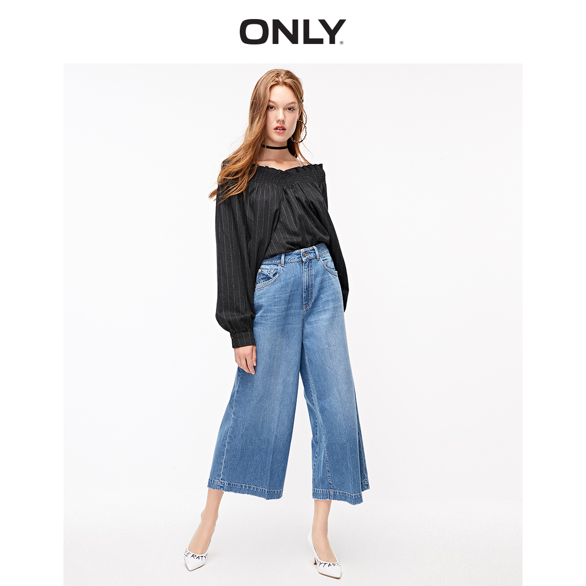 ONLY Loose Fit High-rise Wide-leg Capri Jeans | 11936I502