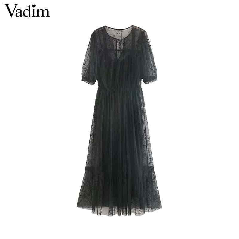 Vadim женская сексуальная сетка миди платье комплект из двух предметов Высокая талия короткий рукав бант галстук женский стильный шик до середины икры Платья QC563