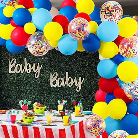 104 шт./лот цирк шары гирлянда красного, желтого и синего цвета конфетти Шар АРКА для карнавала детского дня рождения, свадьбы, дня рождения, в...