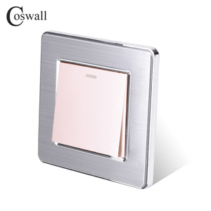 Image 5 - Coswall 1 Gang 1 Way Rocker Light Switch On / Off Wall Switch Stainless Steel Brushed Panel AC 12~250V White Black Gold