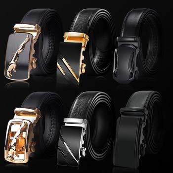 ¡Novedad de 2020! Cinturón de cuero de vaca con hebilla automática para hombre, cinturón de marca famosa, cinturones de lujo para hombre Ceinture Homme Cinturones de hombre    -