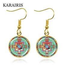 Новые серьги karairis в виде мандалы Подвесные священного стекла