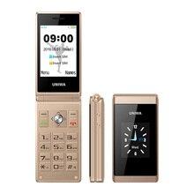 UNIWA Botón de gran empuje X28 2G/m² para teléfono móvil, con concha abatible para móvil, Radio FM, Sim Dual, teclado hebreo y ruso, color dorado y gris