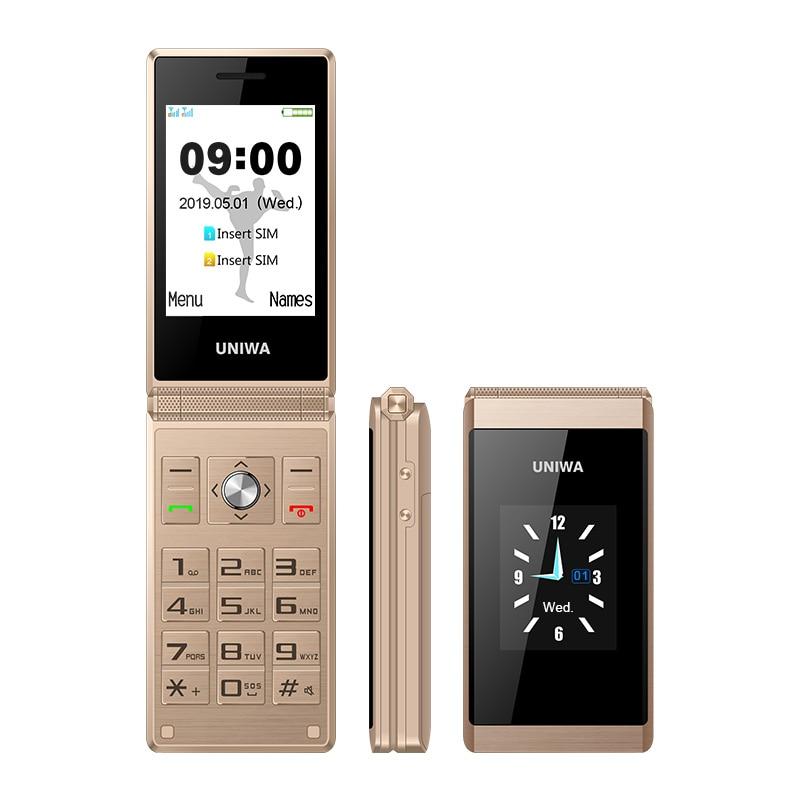UNIWA X28 2G GSM Big Push Button Clamshell Flip Cell Mobile Phones Dual Sim FM Radio Russian Hebrew Keyboard Gold Grey