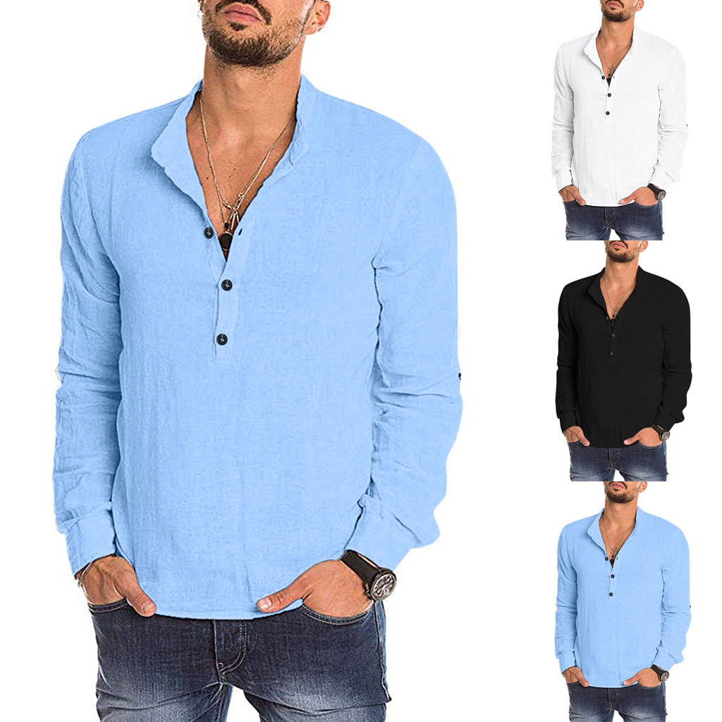 Hawcoar Autumn New Fashion Men's Casual Solid Long Sleeve V-neck Shirts Tops Blouses Wholesale Free Ship рубашка мужская Z4