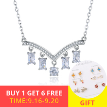 XiaoJing Real 925 Sterling Silver V Shape Pendant Necklace With Clear CZ Fashion Jewelry Party Wedding Best Gifts free shipping