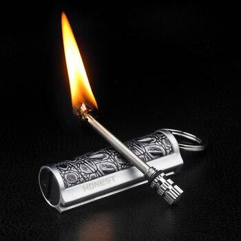 Encendedor Retro de Metal libre, encendedor de pedernal, antorcha de queroseno, encendedor de aceite, encendedor de llama creativo, para hombre, encendedor portátil de supervivencia al aire libre