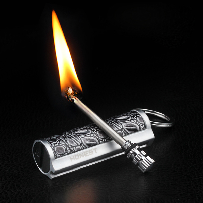 Free Fire Metal Retro Match Lighter Flint Fire Starter Torch Kerosene Oil Flame Lighter Creative Men's Gift Can Be Refueled Lighter Portable Outdoor Survival Safety Tool Hiking Camping Instant Emergency Fire Starter