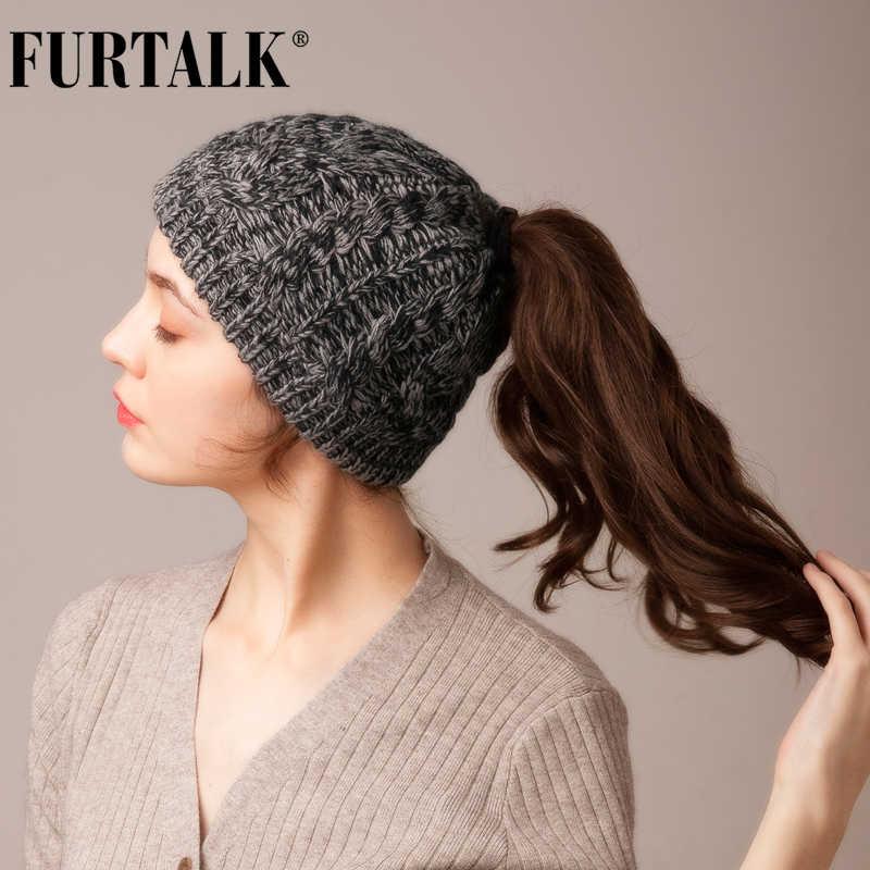 FURTALK kış at kuyruğu bere şapka kadınlar dağınık topuz örgü bere şapka sonbahar Skullies Beanies kapaklar kadın örgü sıcak şapka