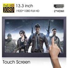 13.3 inç taşınabilir ekran PS4 anahtarı oyun konsolu bilgisayar alt dokunmatik ekran 1920x1080 oyun Led monitör masaüstü standı mini
