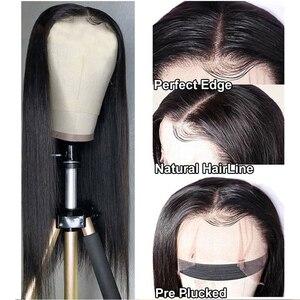 Image 2 - Парик Из прямых человеческих волос на сетке спереди, прямой фронтальный парик для женщин, парик с застежкой 4 х4, парик из 150% прямых человеческих волос