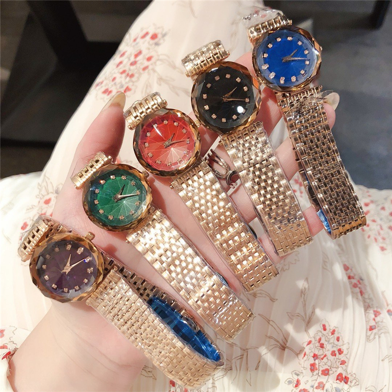 Brand D Luxury High Quality Chameleon Crystal Japan Movement Glass Quartz Watches Gem Cut Geometry Gold Silver Steel Clock