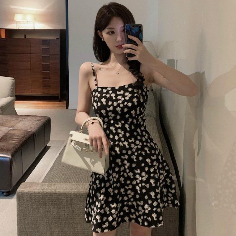 Hot Daisy Dress Women Sexy Dresses Party Night Club Dress 2020 Chiffon Floral Plus Size Spaghetti Strap Above Knee Mini Vestidos