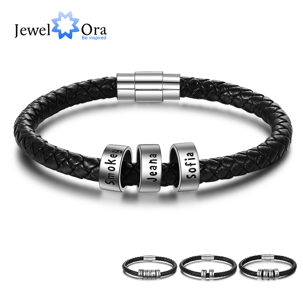 Personalized Men Leather Bracelet With 2-5 Names Beads Custom Family Names Black Rope Chain Bracelets For Men (BA102696)
