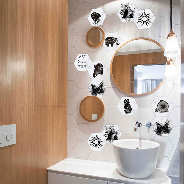 3D 10PCs Self Adhesive Tile Waterproof PVC Wallpaper Stickers For Kitchen/ Bathroom/ Living Room Decorations