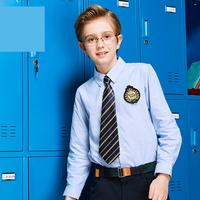 British College Wind Formal Boys Long Sleeve Turnover Collar Blue Solid Color Blouse Cotton Shirts Children's Uniform