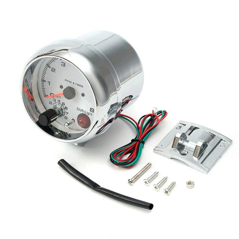 0 ~ 8000 tr/min 7 couleurs LED rétro-éclairage tachymètre jauge WhiteWorks sur 4 6 8 moteurs de cylindre universel convient au véhicule à essence 12V - 5