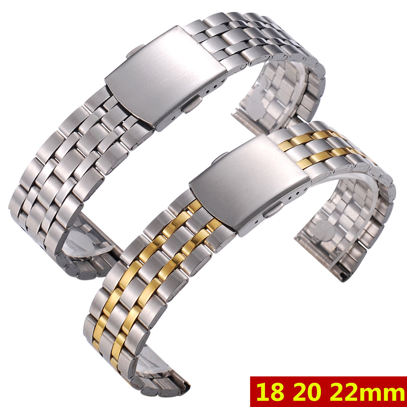 Silver Gold Men Watch Band Strap Stainless Stell Deployment Clasp Speed Master Wrist Women Band 18mm 20mm 22mm Accessories