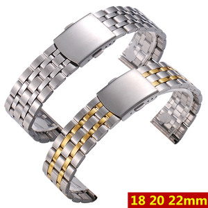 Silver Gold Men Watch Band Strap Stainless Stell Deployment Clasp Speed Master Wrist Women Band 18mm 20mm 22mm Accessories(China)