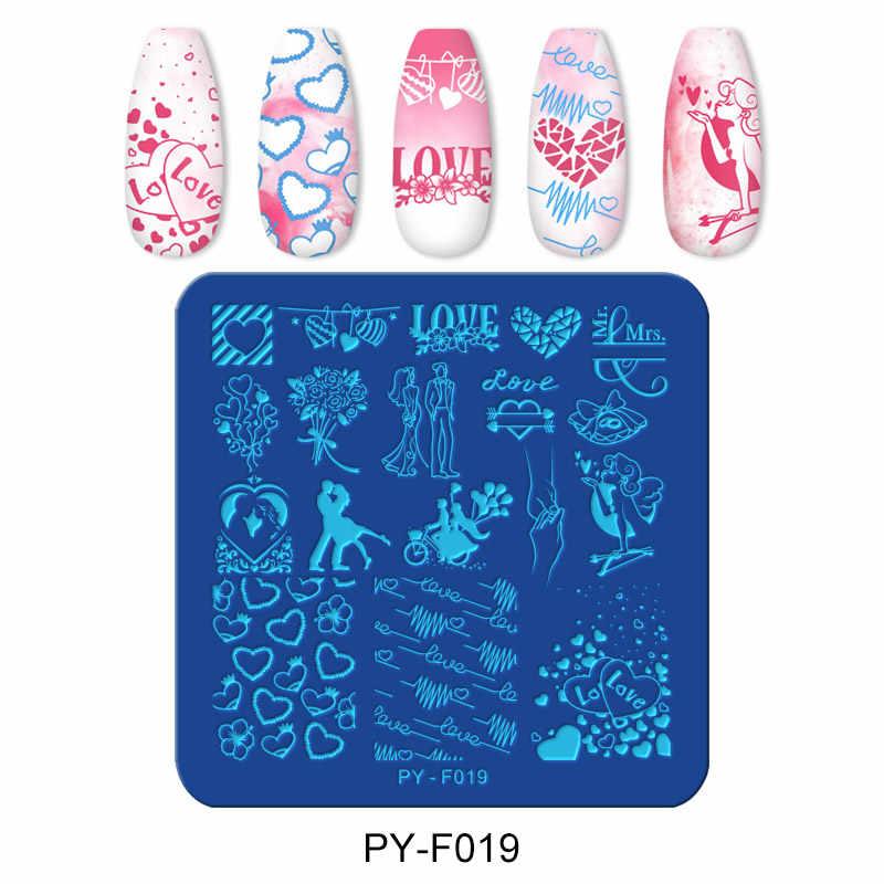 Pict Anda Kuku Stamping Piring Hari Valentine Cinta Piring Seni Kuku Stainless Steel Kuku Desain Stensil Alat Stamp Piring PY-F019