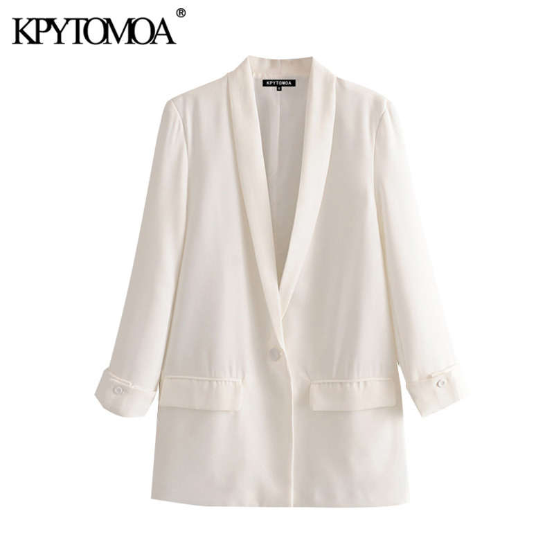 KPYTOMOA Women 2020 Fashion Office Wear Single Button Blazer Coat Vintage Long Sleeve Pockets Female Outerwear Chic Tops