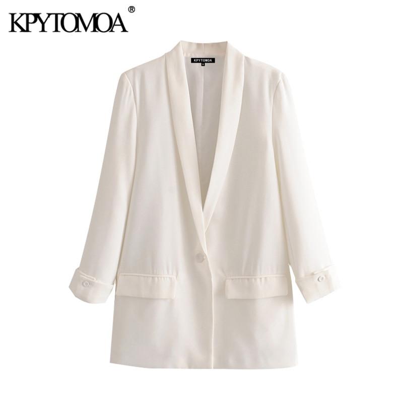 KPYTOMOA Women 2020 Fashion Office Wear Single Button Blazer Coat Vintage Long Sleeve Pockets Female Outerwear Chic Tops