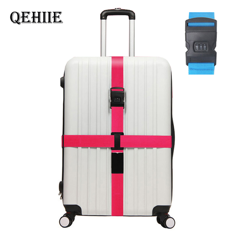 Adjustable Password Cross Luggage Straps Travel Trolley Suitcase Personalized Safe Packing Belt Parts Items Accessories Supplies
