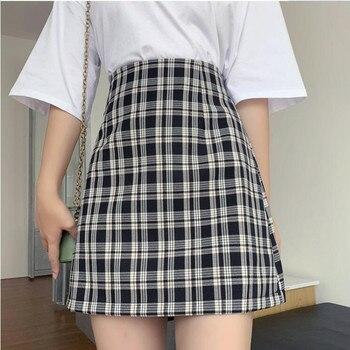 Saia Das Mulheres Do Vintage Roupas Envoltório Xadrez Saias Curtas Preto Harajuku Streetwear Verão 2020 Elástico A Nova Moda Popular
