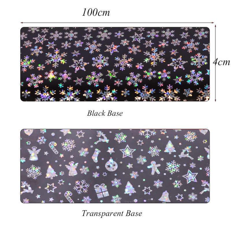 Etiqueta do prego 100x4cm padrão de natal para a etiqueta do prego 3d floco de neve estrela laser brilho natal arte do prego transferência folhas arte do prego