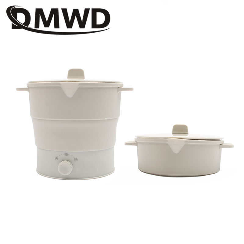 DMWD Folding Silicone Hotpot Electric Multifunction Cooker Heating Kettle Water Boiler Stew Soup Noodle Pot Food Egg Steamer EU