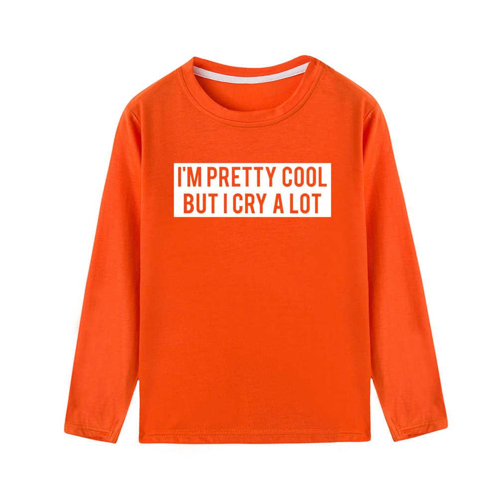 Tôi Khá Thoáng Mát Nhưng TÔI Khóc Rất Nhiều Trẻ Em TEE Trẻ Em Mùa Thu Áo Sơ Mi Tay Dài Bé Trai Bé Gái áo sơ mi Họa Tiết thời trang Hợp Thời Trang Quần Áo