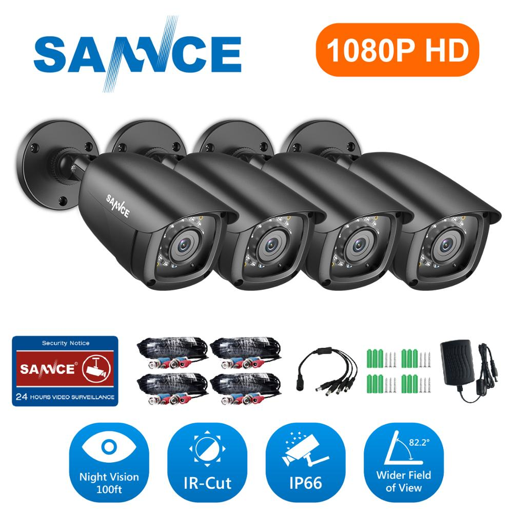 SANNCE Camera Surveillance-System Ir-Cut Night-Vision Security Waterproof 1080P Audio-Recording title=