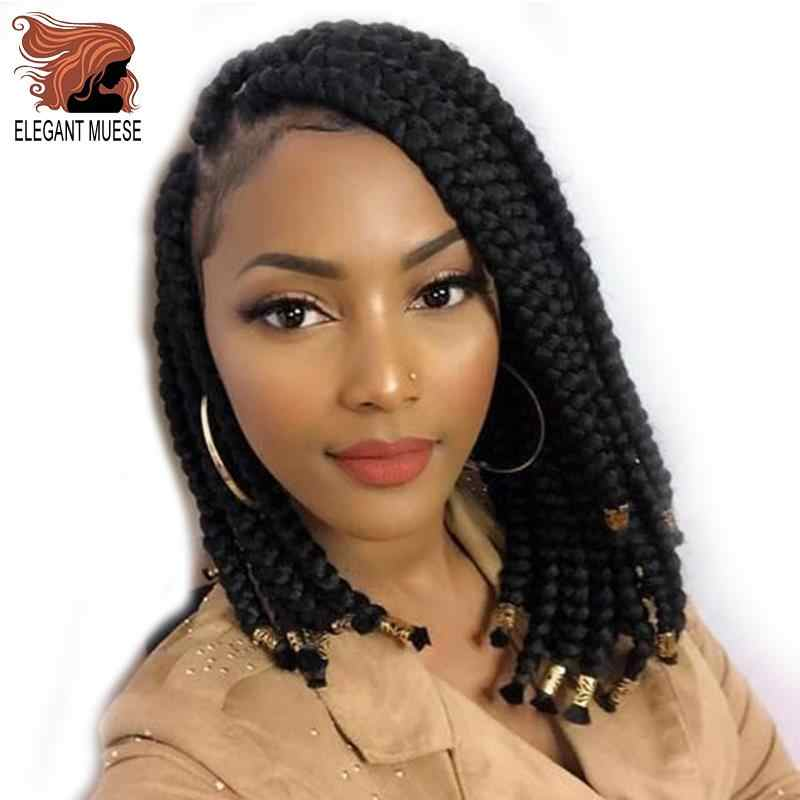 ELEGANT MUSES Crochet braids 14 Inch Box Braids Synthetic 12 Strands Goddess locks Crochet Hair Extensions 6 Color Available