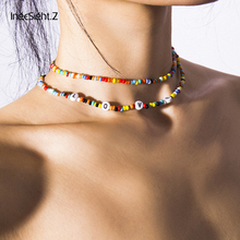 IngeSight.Z 2Pcs/Lot Bohemian Colorful Bead Choker Necklace Collar Statement Letter LOVE Clavicle Chain Women Necklaces Jewelry ingesight z bohemian imitation pearl choker necklace collar statement colorful bead clavicle chain necklace for women jewelry