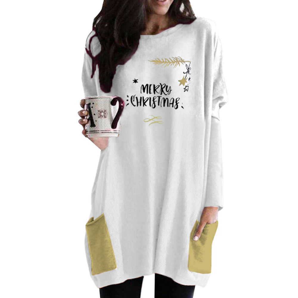 Christmas Party Dress For Women Printed Long Sleeve Dresses Ladies Casual Round Neck Mini Dress Xmas Pockets Robe Vestidos D30
